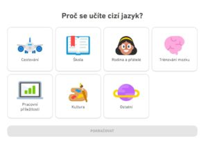Online angličtina postup Duolingo