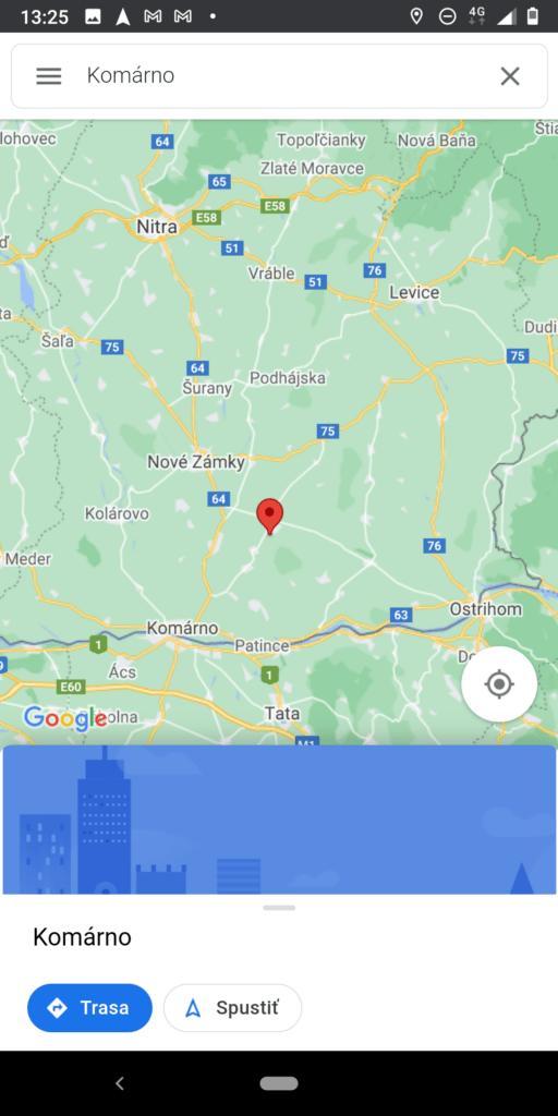 Navigácia Google Maps