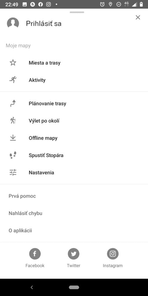 Navigácia Mapy cz